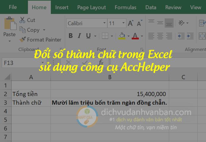 đổi số thành chữ trong excel sử dụng acchelper