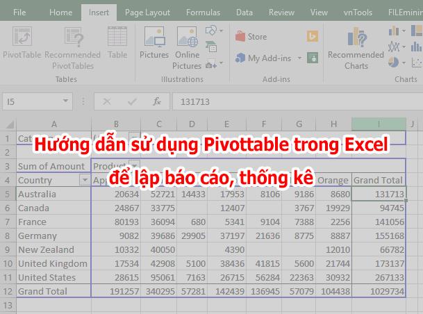 hướng dẫn sử dụng pivottable trong excel