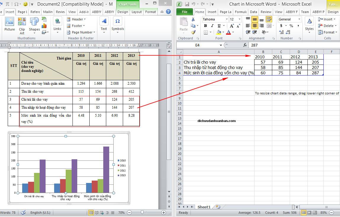 copy dữ liệu vào excel biểu đồ