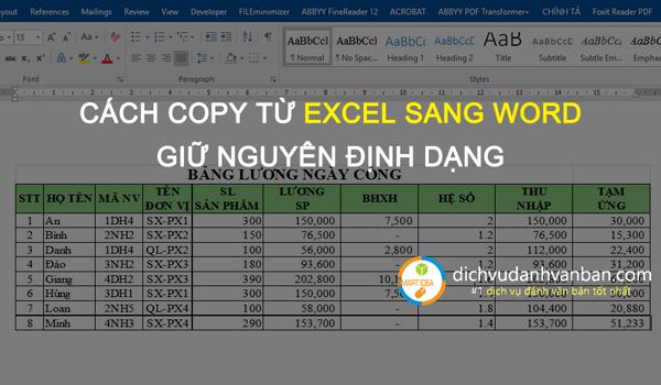 Hướng Dẫn Copy Dữ Liệu Từ Excel Sang Word Giữ Nguyên định