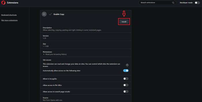Chọn Install để cài đặt Enable Copy