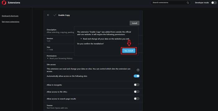 Chọn Yes, install để tiếp tục cài đặt Enable Copy