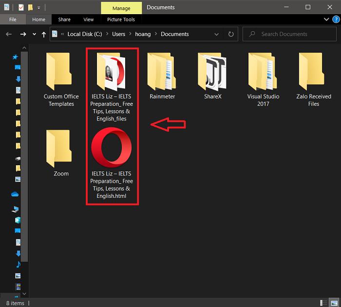 Folder và file có đuôi html