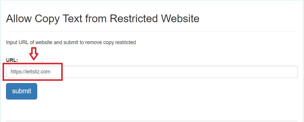 Dán địa chỉ trang web cần copy vào khung URL