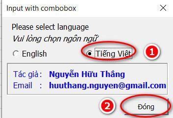 chọn Tiếng Việt cho Add-ins