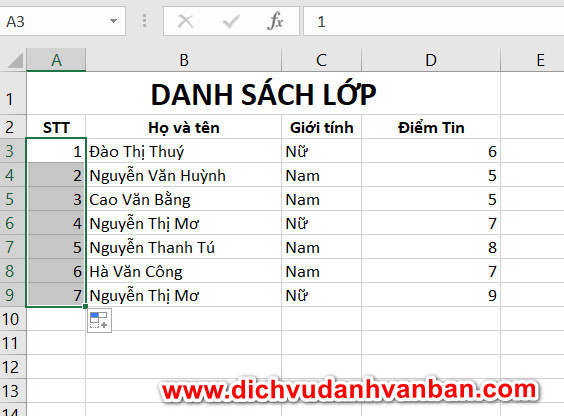 Điều chỉnh bảng Excel