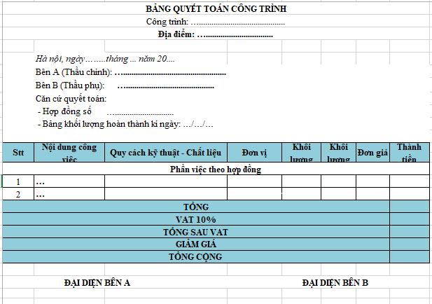 mẫu bảng quyết toán công trình xây dựng