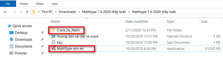 vào file giải nén cài đặt mathtype